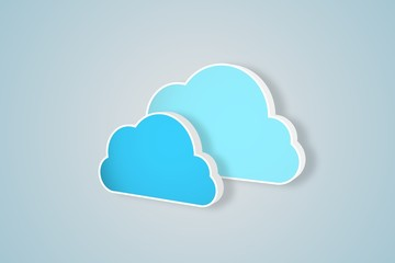 Two blue clouds for cloud computing