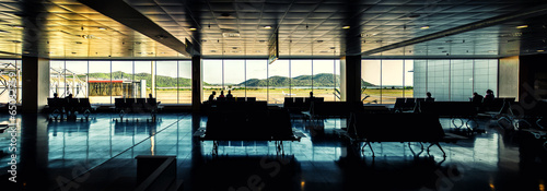 Panoramic view of Ibiza airport lounge, Spain - 65032759