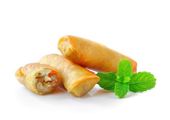 Fried Chinese Traditional Spring rolls food isolated on white ba