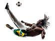 Brazilian  black man soccer player kicking football silhouette