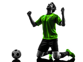 soccer football player young happiness joy kneeling man silhouet