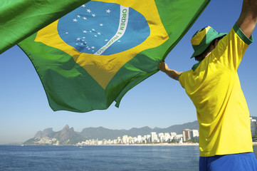 Brazilian Football Player with Flag Ipanema Rio