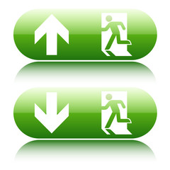 Green  glossy emergency exit sign with arrow up and down on whit