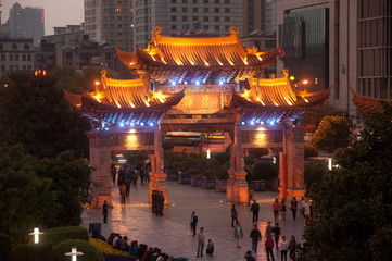 Night scene of Jinma Biji Historic site in Kunming,China.