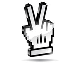 Victory pointer hand 3d