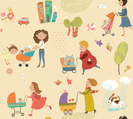 Pattern with mothers and children