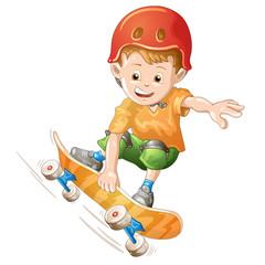 Cartoon skater boy flying through the air