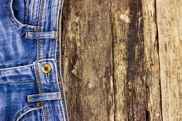 Closeup detail of a blue jeans