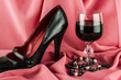 wine, pearls and women's shoes