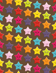 Seamless background with a cute cartoon Kawaii stars pattern.
