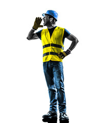 construction worker screaming safety vest silhouette
