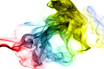 Colorful smoke on the white background