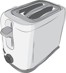Sketched line drawing of a modern 2 slice toaster.