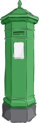 Sketched line drawing of a green Irish antique postbox.