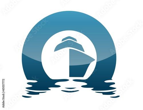 Leinwanddruck Bild global boat logo wind sea travel cruise sailboat beach