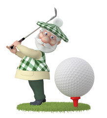 The 3D grandfather plays golf on a lawn.