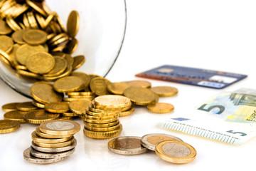Euromünzen und Kreditkarte