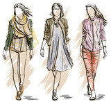 Fototapety Sketch of Fashion models