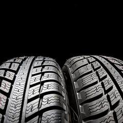 winter tires on black