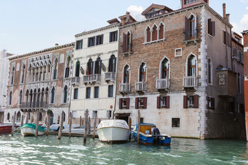 Classic view of Venice with canal and old buildings