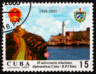 Postage stamp Cuba 2005 Great Wall and Morro Castle