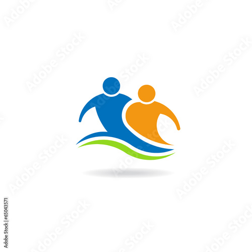 Couple teammate image logo. Concept of partnership, team
