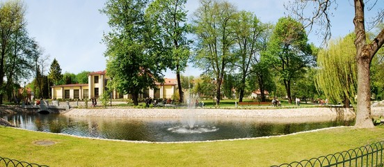 Uzupis park in Vilnius city on May. Lithuania