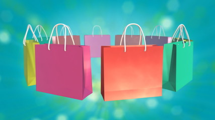 Loop able Colorful Shopping Bag rotate on twinkle background