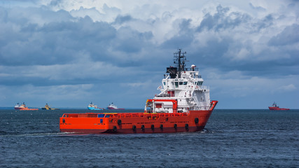 Red Oil Platform Supply Ship