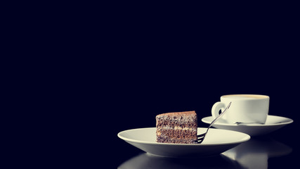 Coffee break with chocolate cake