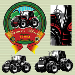 label with a tractor for livestock and crop