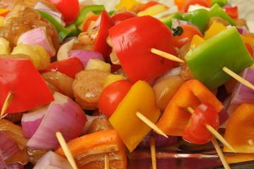 Fresh chicken shish kebab with vegetables