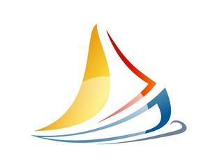 sailboat logo boat icon wind sea travel symbol cruise business