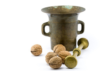Walnuts and copper mortar