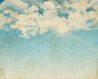 canvas print picture - Grunge background of a sunny blue sky