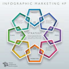 Infographics Vector Background #Marketing 4P