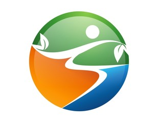 logo global symbol icon nature health earth active people leaf