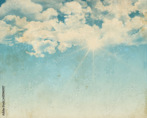 canvas print picture Grunge background of a sunny blue sky