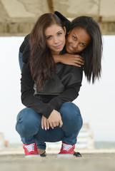 portrait of young different nationalities teenage girls
