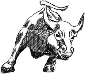 Bulle Börse Aktien Wallstreet Geld Zeichnung