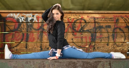 Sexy young woman in hip hop style