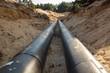 Leinwandbild Motiv Layed pipeline construction