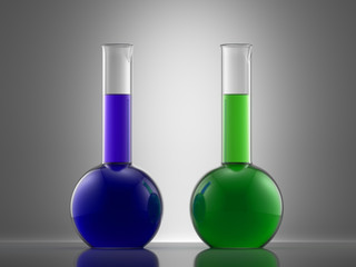 Science laboratory glass equipment with liquid. flasks with colo