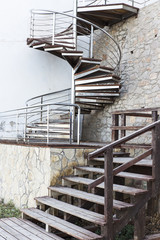 Wood and metalic stairs