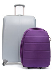 Close up of two suitcases for traveling, isolated