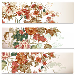 Business cards set with flowers