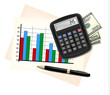 Business concept with finance graphs, electronic calculator and