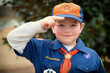 Cub Scout gives the Boy Scout salute during an outdoor event