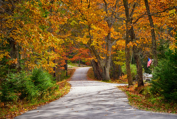 Winding autumn country road in New England