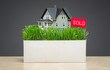 Close up of house model with green grass and sold tablet  - 65050153